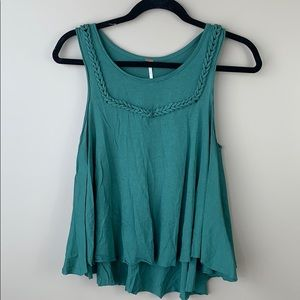 Free people green braided flowy cropped tank top